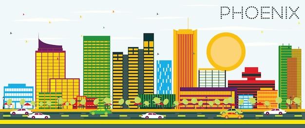 Горизонт феникса с цветными зданиями и голубым небом. векторные иллюстрации. деловые поездки и концепция туризма. изображение для презентационного баннера и веб-сайта.