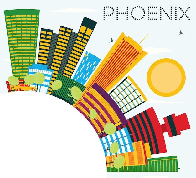 Горизонт феникса с цветными зданиями, голубым небом и копией пространства. векторные иллюстрации. деловые поездки и концепция туризма. изображение для презентационного баннера и веб-сайта. Premium векторы