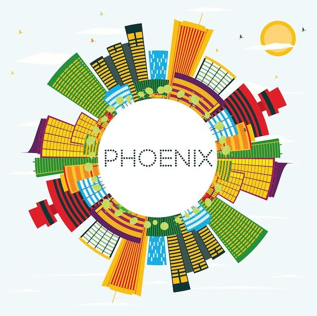 Горизонт феникса с цветными зданиями, голубым небом и копией пространства. векторные иллюстрации. деловые поездки и концепция туризма. изображение для презентационного баннера и веб-сайта.