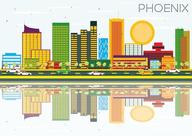 Горизонт феникса с цветными зданиями, голубым небом и отражением. векторные иллюстрации. деловые поездки и концепция туризма. изображение для презентационного баннера и веб-сайта.