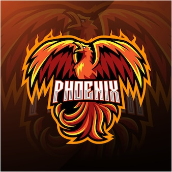Phoenix sport mascot logo design Premium Vector