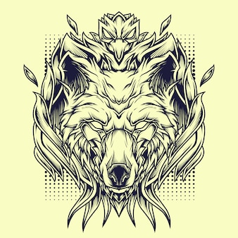 Phoenix wolves line art illustration