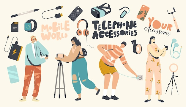 Phone accessories concept. young male and female characters using modern digital devices and gadgets. people with tripod for smartphone, usb connection, charger, memory . cartoon vector illustration