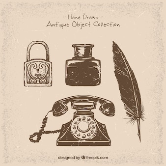 Phone and hand-drawn vintage objects