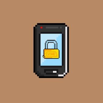 픽셀 아트 스타일의 전화 및 자물쇠 벽지