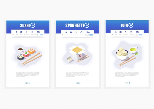 Phone app, asian food delivery service, sushi, spaghetti, tofu, 24 hours,   isometric food delivery graphics