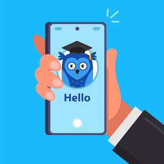 Телефонное приложение для онлайн-обучения. приложение на смартфоне. Premium векторы