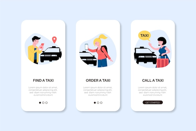 Phone app screens for taxi service