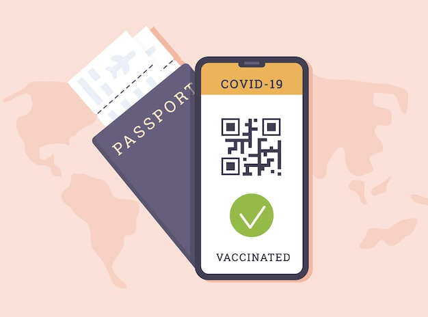 Phone app with qr code as proof of covid vaccine and passport with airline boarding pass
