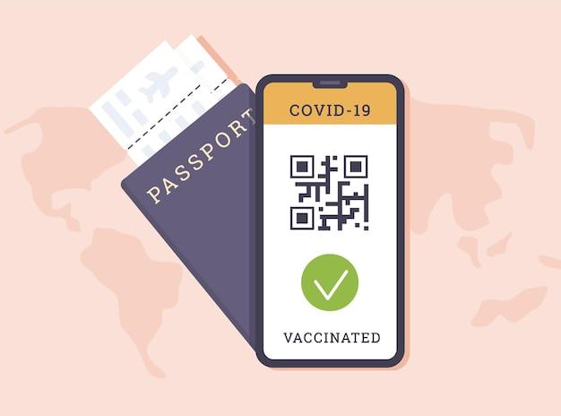Covid 백신의 증거로 qr 코드가있는 전화 앱과 항공사 탑승권이있는 여권