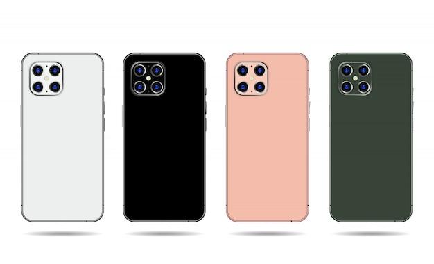 Phone back set isolated on white