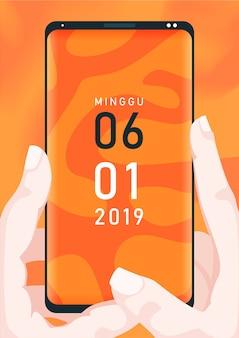 Телефон фон оранжевый