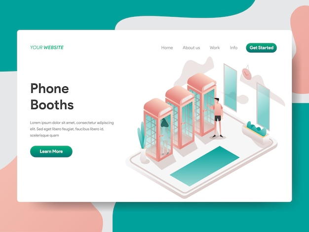 Phone booth isometric for website page