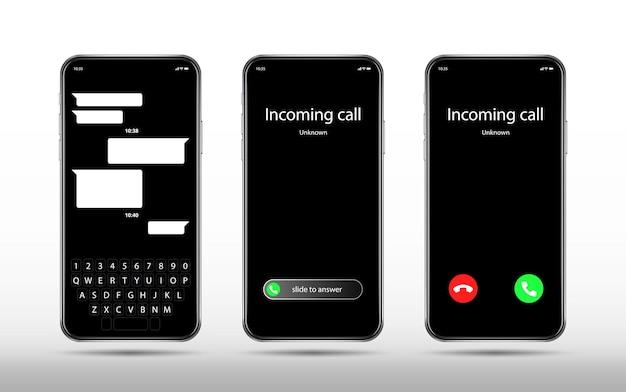 電話とチャット画面。リアルなスマートフォンのモックアップ、着信。辞退ボタンとスライダー、モバイルキーボードのベクトルテンプレートを受け入れます。スマートフォンインターフェース着信画面イラスト