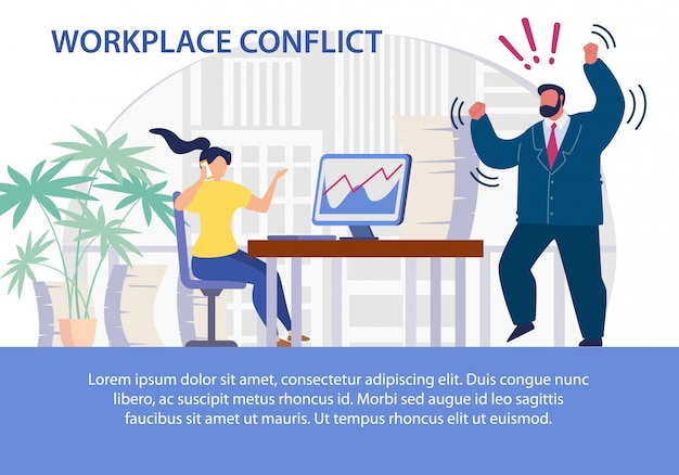 Phone calls on workplace conflict flat template