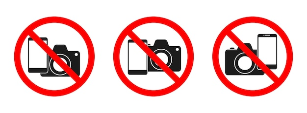 Phone and camera forbidden sign. no phone, no camera sign on white background. set of no photo signs isolated