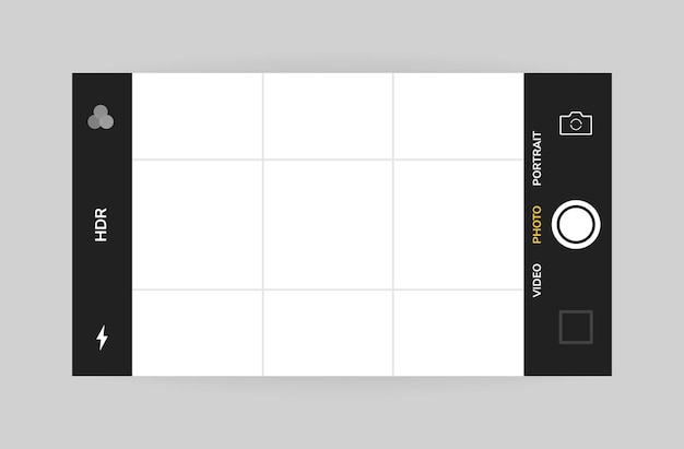 Phone camera interface horizontal view. mobile app application. photo shooting.