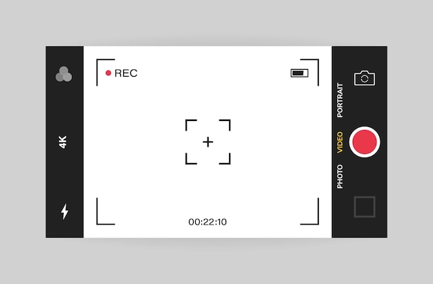 Phone camera interface horizontal view. mobile app application. video shooting.