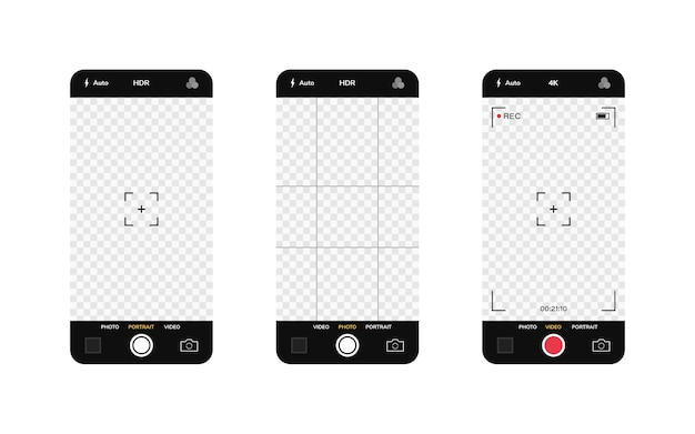 Phone camera interface. mobile app application. photo and video shooting.  illustration graphic .
