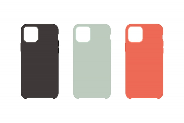 Phone case icons set flat style
