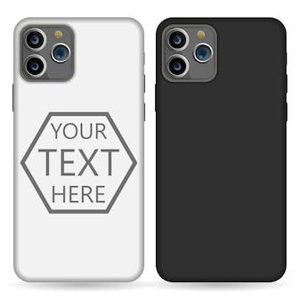휴대폰 케이스 템플릿 그림 (흰색 / 검정색).