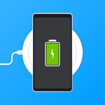 Phone charging, flat icon isolated on blue