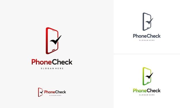 Phone check logo designs concept vector, safe phone logo template, logo symbol icon