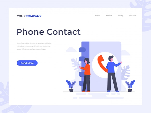 Phone contact landing page