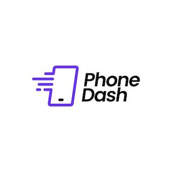 Телефон тире логотип вектор значок иллюстрации