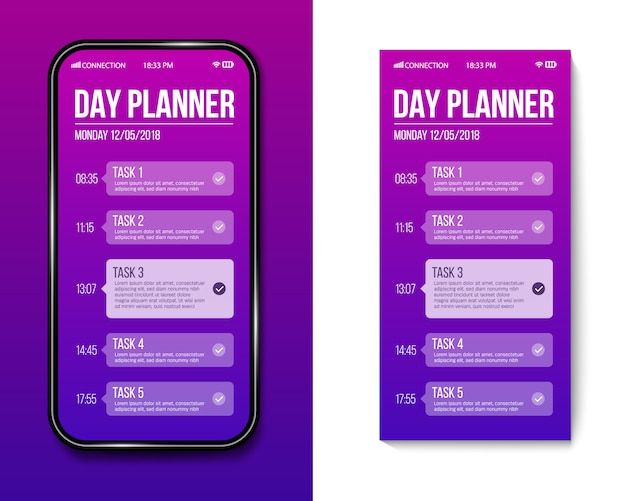 Phone day planner template, calendar done task.