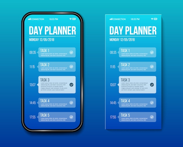 Phone day planner template