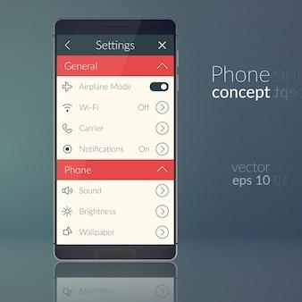 Concetto di design del telefono con menu dell'interfaccia utente piatta