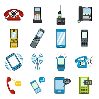Phone flat elements set for web and mobile devices