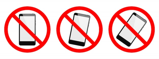 Phone forbidden vector sign. no phone, no smartphone sign on white background. set of no cell phone signs, isolated