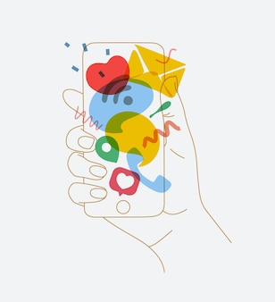 Phone in hand with colorful multitasking symbols drawing thin lines on white background