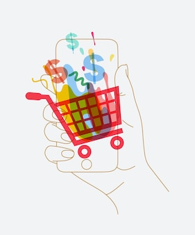 Phone in hand with online shopping symbols drawing thin lines on white background