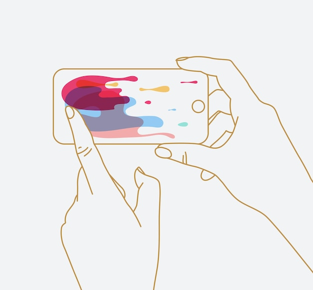 Phone in hands surfing internet drawing with thin lines on white background