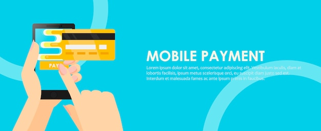 Phone in hands with a credit card. payment online from mobile.