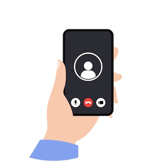 手に電話。ビデオ通話