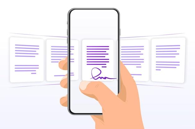 Телефон в руке с файлами прокрутка выберите файлы документы на телефоне классификация процессов
