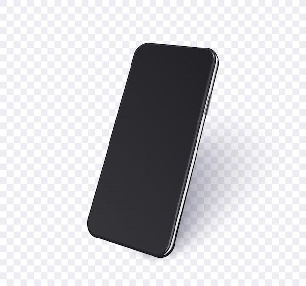 전망보기에서 전화입니다. 빈 화면 및 그림자와 함께 현실적인 모바일 스마트 폰 블랙 색상