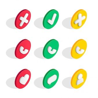 Phone interface isometric icons set.