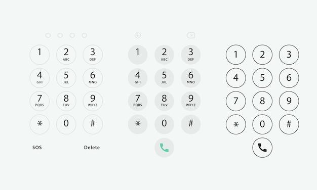 전화 키패드. 터치스크린 장치의 키보드 템플릿입니다. 전화용 숫자와 문자가 있는 사용자 키패드. 스마트폰용 인터페이스 키패드.