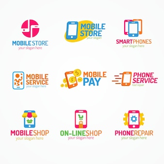 Phone logo set color style use for smartphone shop and service