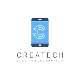 Phone logo with letter c for technology and innovation