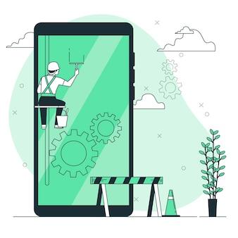 Иллюстрация концепции обслуживания телефона