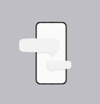 Phone messages template. white screen of smartphone with text clouds with banners internet applications sending and receiving conversational dialogues