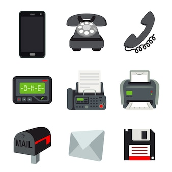 Phone mobile fax printer pager beeper letter mail disk communication object