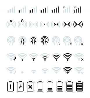 전화 모바일 신호. wi-fi 및 모바일 상태 표시 줄 연결 아이콘 gsm 배터리 잔량 사진