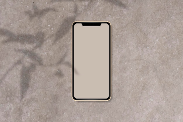 Phone mockup on brown marble background